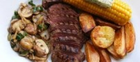 طرز تهیه استیک گوشت با مرغ و سبزیجات
