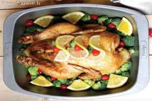 طرز تهیه مرغ شکم پر با سس مرکبات