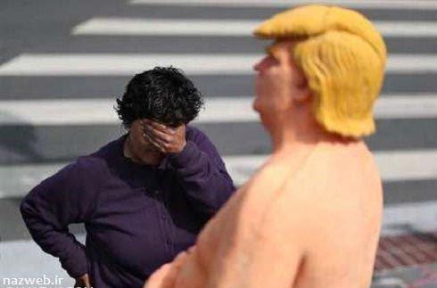 مجسمه کاملا برهنه دونالد ترامپ در آمریکا نصب شد (تصاویر)