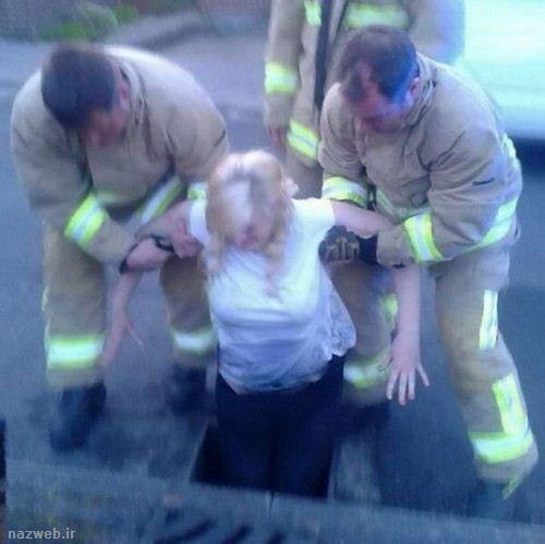 دختری بخاطر سینه های گنده در چاه گیر کرد تصاویر