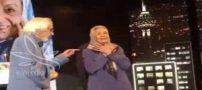 کلیپ بوسه جمشید مشایخی به ژاله علو در جشن تولد 90سالگی