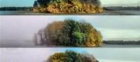 عکس های زیبا از دریاچه ای رنگارنگ در تمام فصول!!